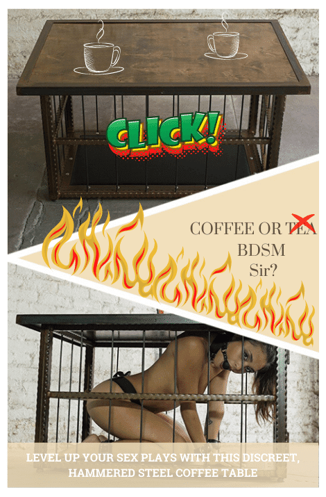 Hammmered Steel BDSM Coffee Sex Table