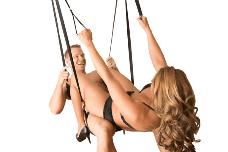 Couple use Screamer Sex Swing Dual Hook for sex