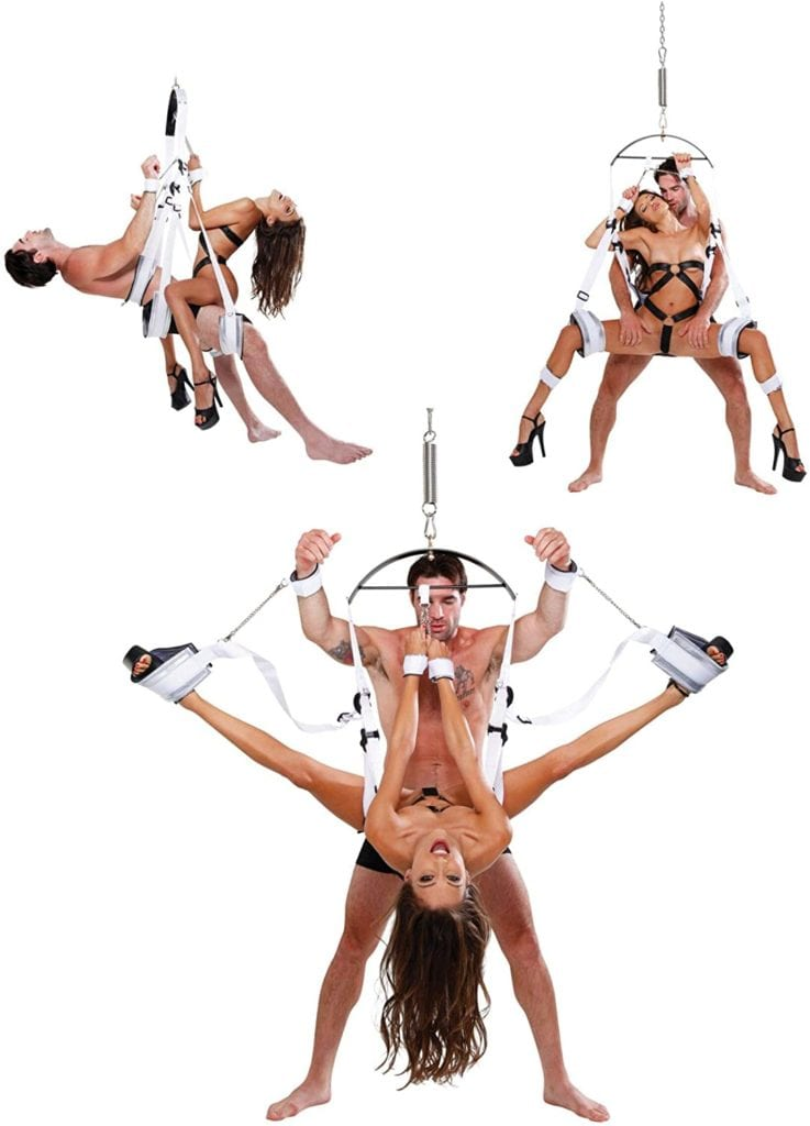 Couple having fun in many different sex positions on Bondage Swing by Pipedreams